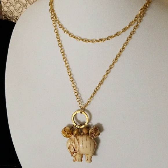 Jewelry ivory and gold elephant necklace poshmark ivory and gold elephant necklace aloadofball Images